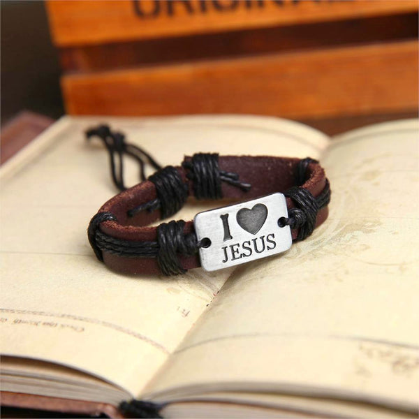 I LOVE JESUS Leather Cuff Braided Wrap Charm Bracelet - Daanias