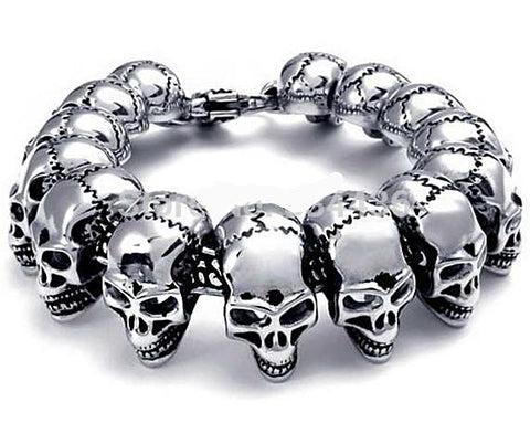 Skull Ghost Biker Heavy Steel Bracelet - Men's - Daanias