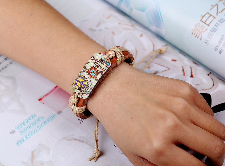 Genuine Leather Heat Transfer Peace Sign Weave In Hand Bracelet - Daanias