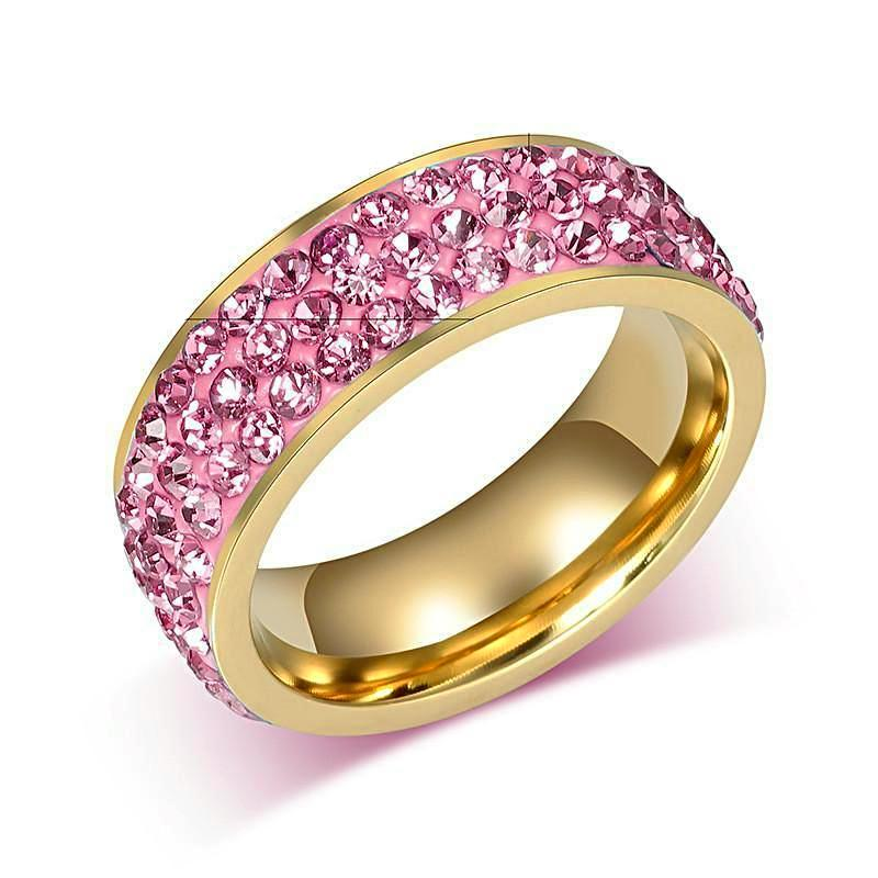 Unique Design Luxurious Crystal Ring-Pink - Daanias