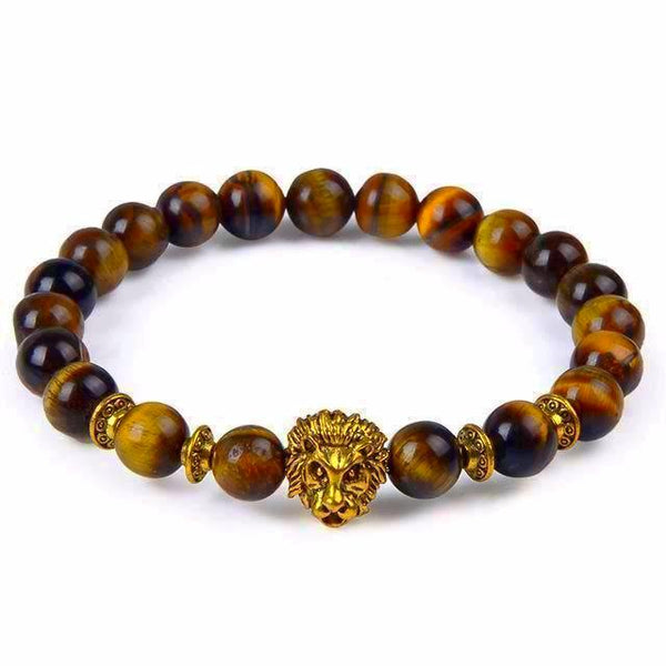 Tiger Eye Natural Stone Bracelet Leopard & Lion Head-Gold, Silver Color - Daanias