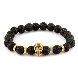Black Lava Rock Stone Beads With Gold Tone Skull Charm Bracelet - Daanias