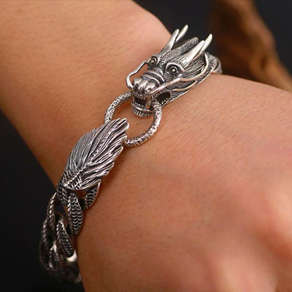 Men's Biker Thai Silver Dragon Curb Chain Bracelet - Daanias