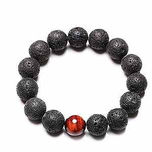 Black Volcanic Lava And Tiger Eye Stone 12mm Beaded Bracelet - Daanias