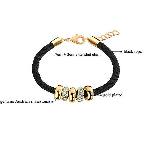 Rope Bracelet With Round Austrian Crystals Charm Gold Tone - Daanias