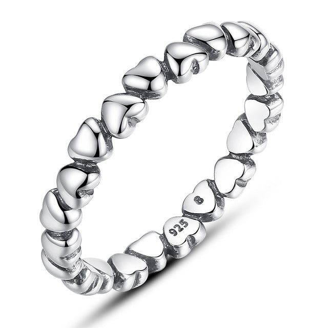 Heart Shaped Genuine Sterling Silver Ring - Daanias
