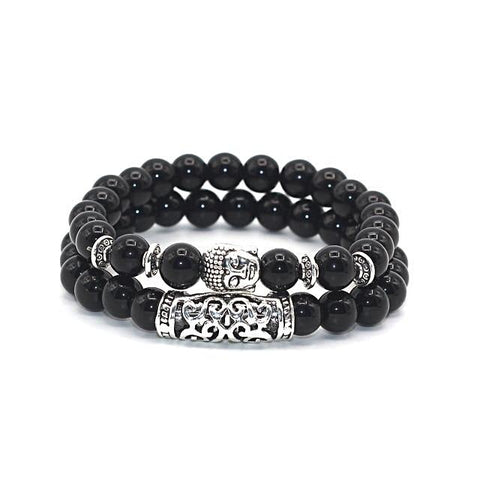 Buddha Charm Lava Onyx Turquoise Natural Stone Bracelet Silver Plated - Daanias