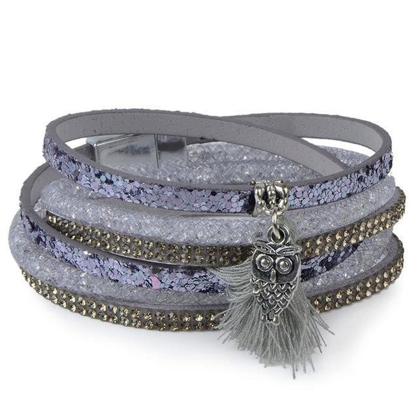 Bohemian Feather Anchor Charms Velvet Multilayer Leather Tassel Bracelet - Daanias