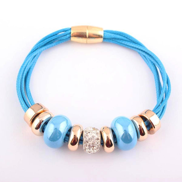 European Style Beads Charm Leather Bracelet Bangle - Daanias