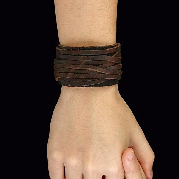 Leather Bracelet With Adjustable Buckle-Black & Brown Leather - Daanias