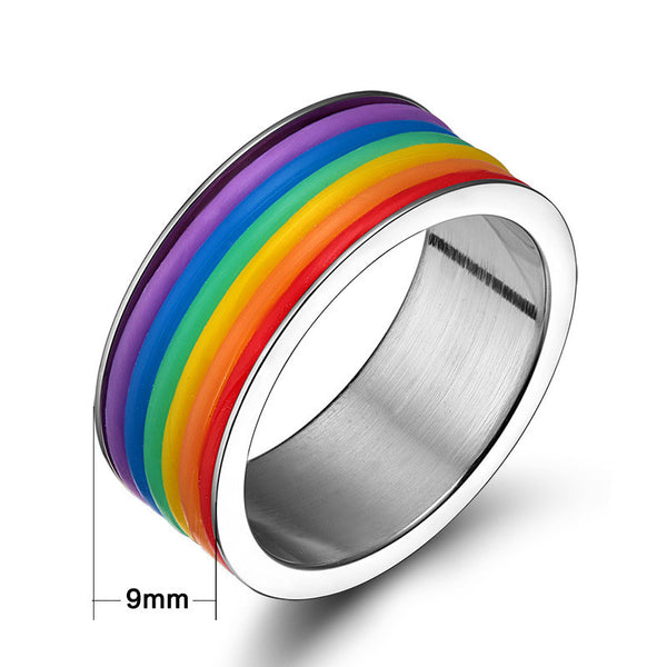 Rainbow Colors Pride Stainless Steel Ring - Daanias.com