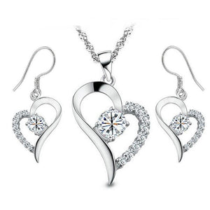 Beautiful Crystal Heart Necklace and Earring Set