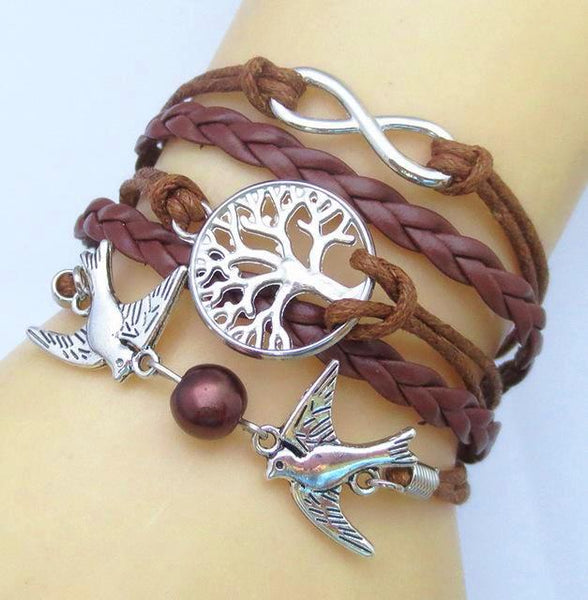 Tree Of Life And Cute Birds Charm Leather Bracelets- Multi Colors - Daanias
