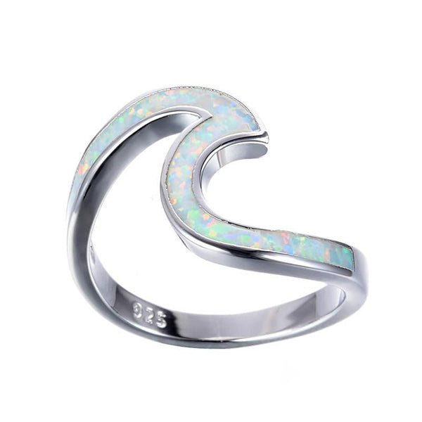 White Fire Opal Sterling Silver Wave Rings - Daanias