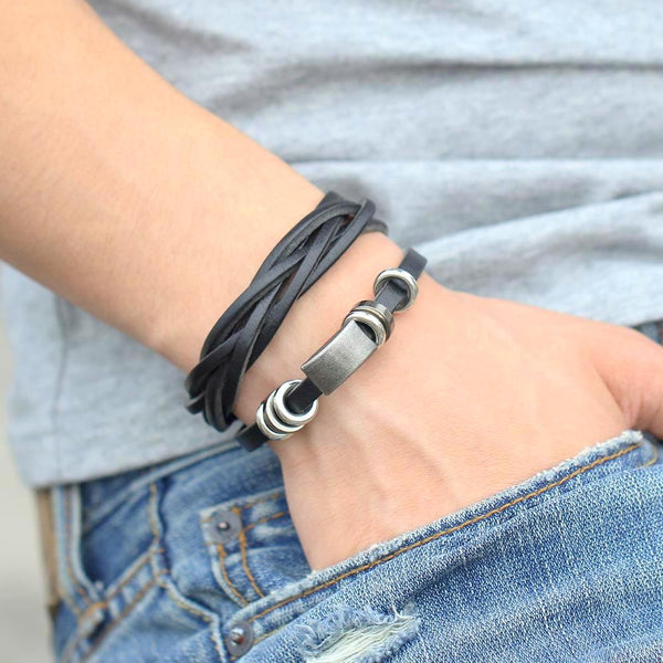 Genuine Leather Wrap Around Bracelet Black/Brown-Men - Daanias