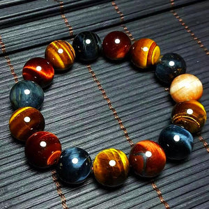 Natural Tiger Eye Bracelet Multi Color Stone Beads - Daanias
