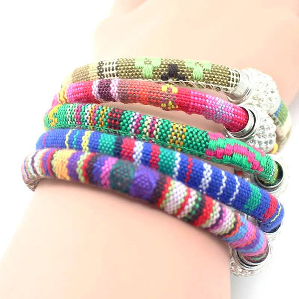 Handmade Multi Color Knitted Ribbon Bracelets-12pc - Daanias