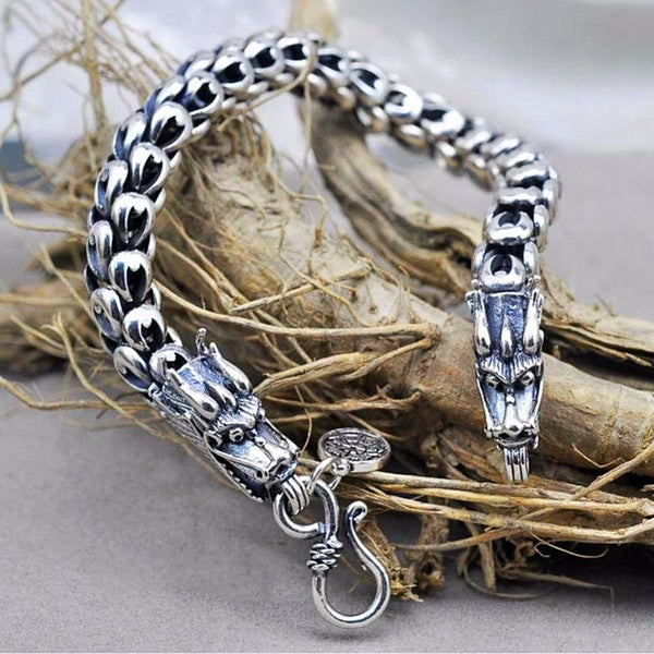 Dragon Scale Thick Thai Silver Bracelet -Men - Daanias