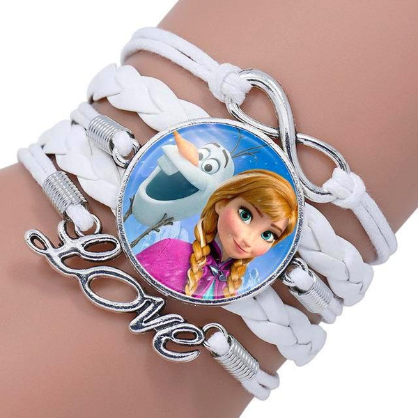 Princess Portrait Glass Cabochon Love Leather Bracelet For Girls - Daanias