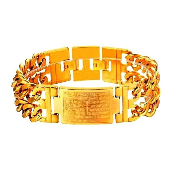 Bible Prayer Cross Multilayer Cuban Link Men's Bracelet - Daanias.com