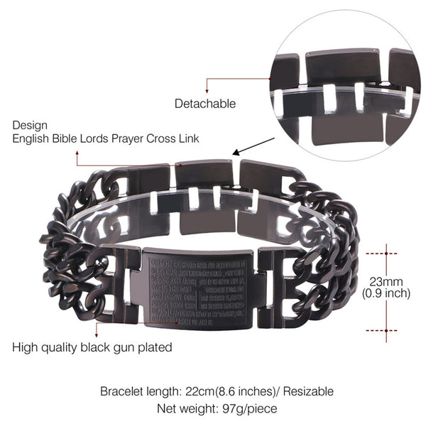 Bible Prayer Cross Multilayer Cuban Link Men's Bracelet-Daanias.com