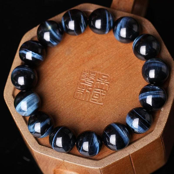 Blue Hawk Eye Beads Natural Semi-Precious Stones Bracelet - Daanias
