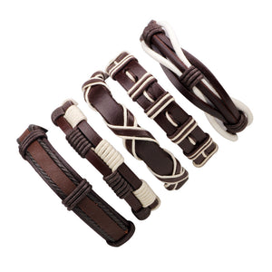 Genuine Leather Braided Bracelets 1 Set/5Pcs - Daanias