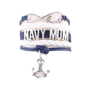 Love NAVY MOM Leather Bracelet- Multiple Colors