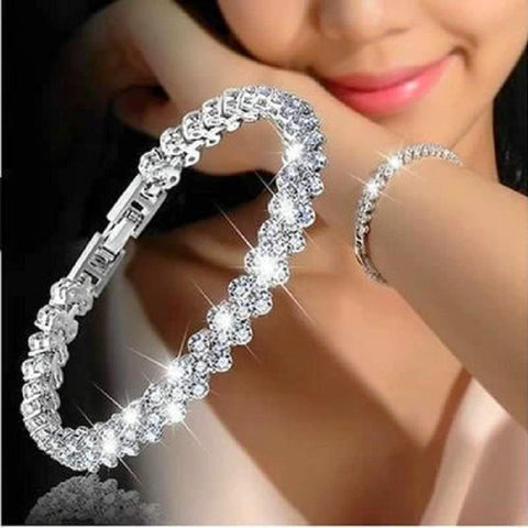 Stunning Italian Crystal Zircon Beads Tennis Bracelet Bangle - Daanias