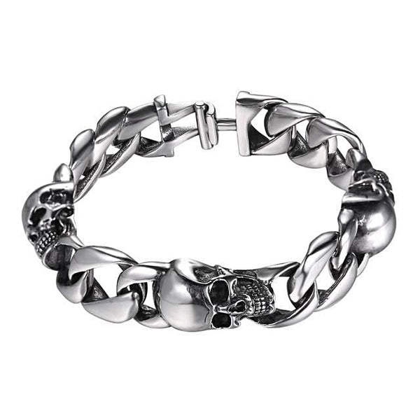 Cuban Chain With Skull Stainless Steel Bracelet