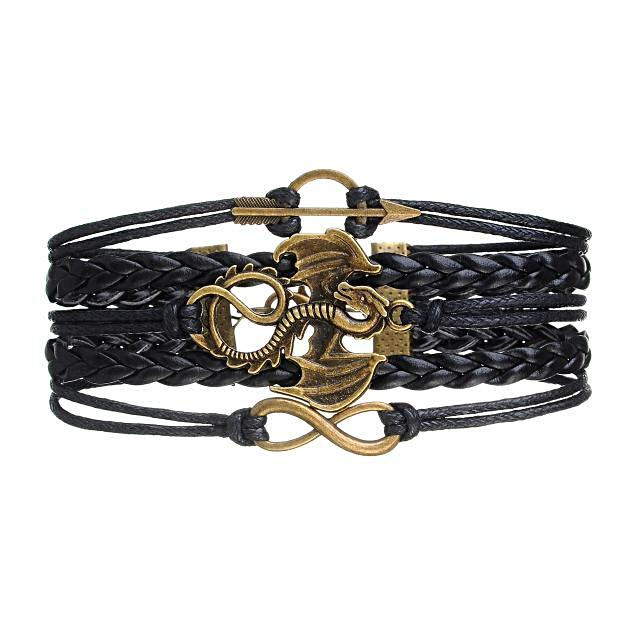 Dragon Arrow Rope Wrap Multilayer Leather Braided Bracelet - Daanias