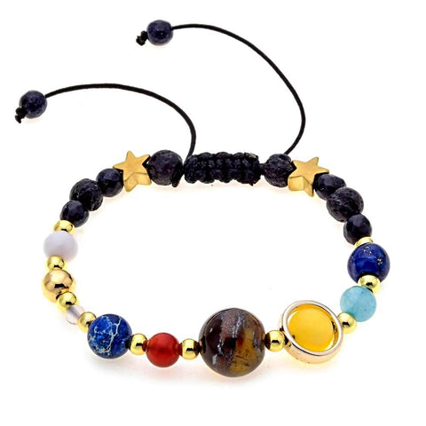 Natural Stone Beads Guardian Star 8 Planets Bracelet Bangle - Daanias