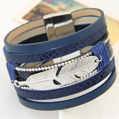 Real Feather Multilayer Leather Charm Bracelets & Bangles - Daanias