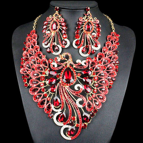 Peacock Shape Crystal Necklace Earrings Jewelry Set For Women -5 Colors to Choose