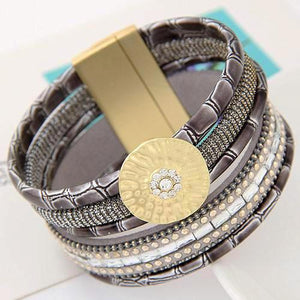 Boho Bamboo Leather Bracelets With Magnetic Buckle Wristband- Women - Daanias