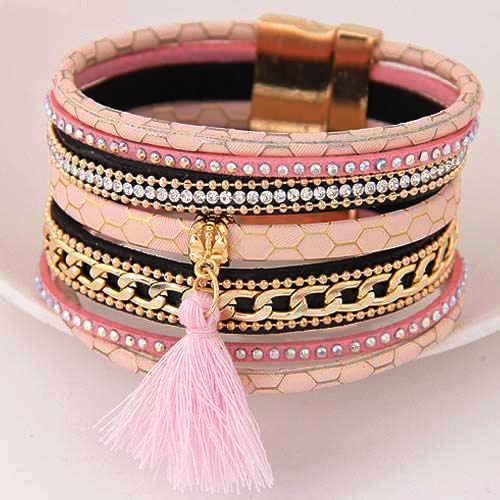 Boho Leather Multilayer Rhinestone Tassel Bracelets - Daanias