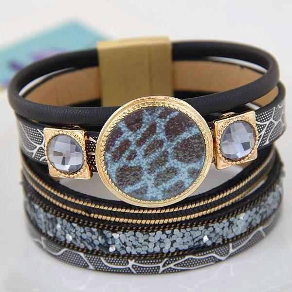 Leather Wrap Enamel Flower Bracelets - Daanias