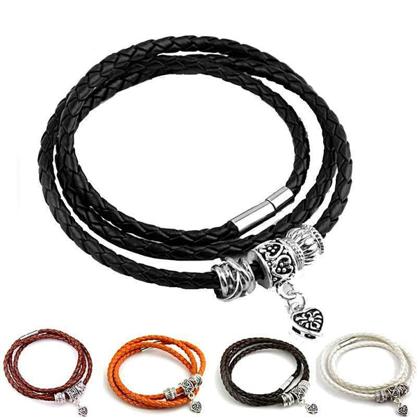 Black Leather Silver Heart Charm Bracelets-Women - Daanias