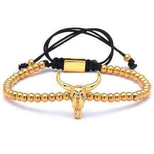 Bull Head Charm Beads Braided Bracelets-Men - Daanias