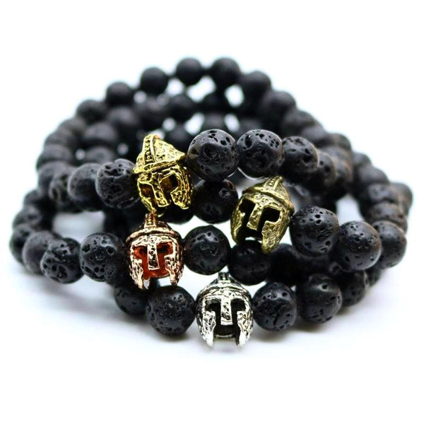 Gladiator Charm Helmet Black Lava Rock, Amazonite Stone Bead Bracelets For Men - Daanias