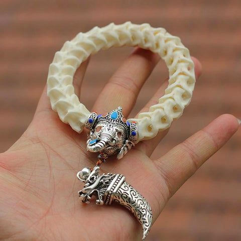 Snake Bone Bracelets Tibetan Silver Elephant And Tooth,Cloisonne Style Bead - Daanias