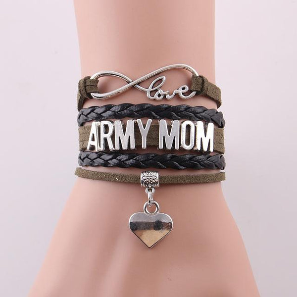 Love Army Mom Leather Bracelet