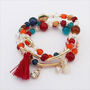Crystal Beaded Multi-Element Tassel Bangle & Bracelet - Daanias