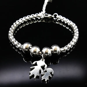 Mother And Daughter Family Love Charm Steel Bracelet - Daanias