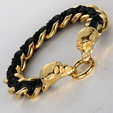 Biker Skull Steel And Leather Bracelet - Black/Gold/Brown - Daanias