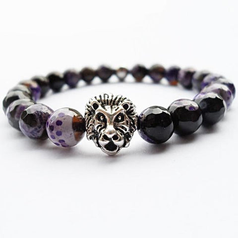 Purple Fire Agate Beads Lion Head Charm Bracelet - Daanias
