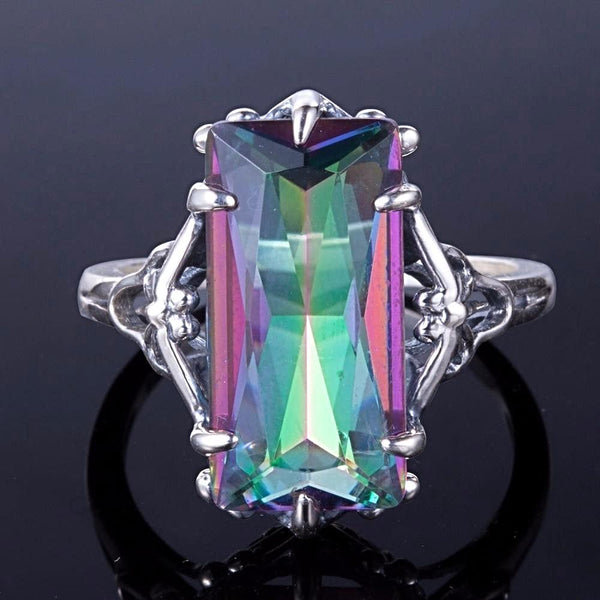 Mystic Topaz Rainbow Fire Cocktail Ring Solid 925 Sterling Silver