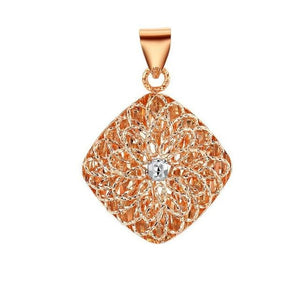 Exquisite Flower Pattern Charm Pendant 18K Rose Gold-Daanias.com