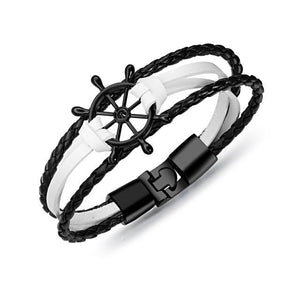 Handmade Multilayer Leather Rudder Stainless Steel Bracelet