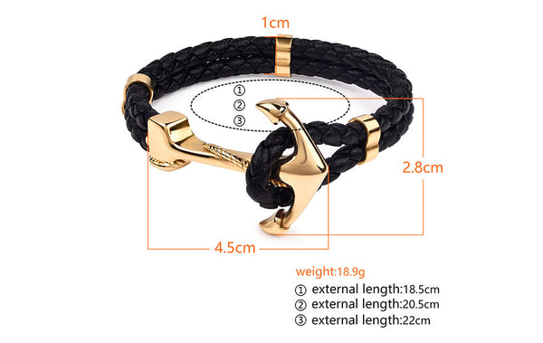 Genuine Black Leather Anchor Gold Clasp Braided Bracelets-Daanias.com